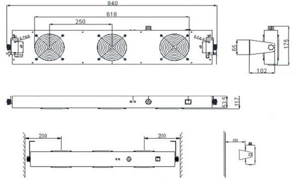Jonizator z trzema wentylatorami TS-2452-80JN