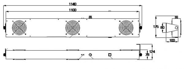 Jonizator z trzema wentylatorami, wersja wydłużona TS-2452-80WJN
